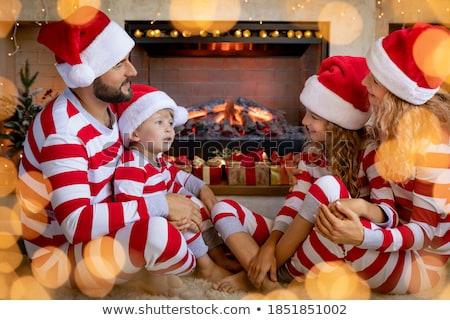 Fiú lány karácsony ajándékok jókedv nappali Stock fotó © IS2