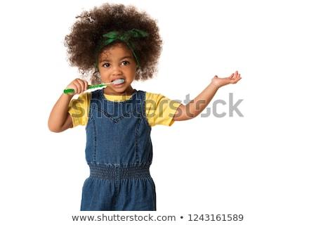 Aranyos kislány fogmosás izolált fehér lány Stock fotó © Lopolo