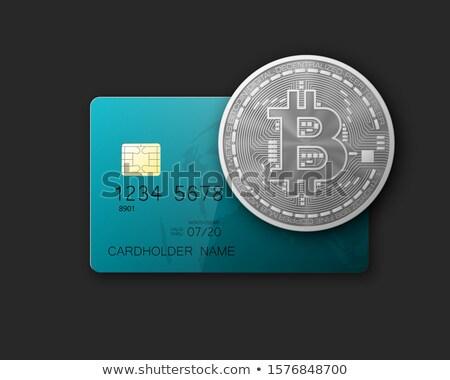 Bitcoin arany érme kilátás üzlet internet fém Stock fotó © boggy