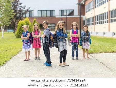 Photo stock: école · élèves · à · l'extérieur · classe · magnifique · portrait