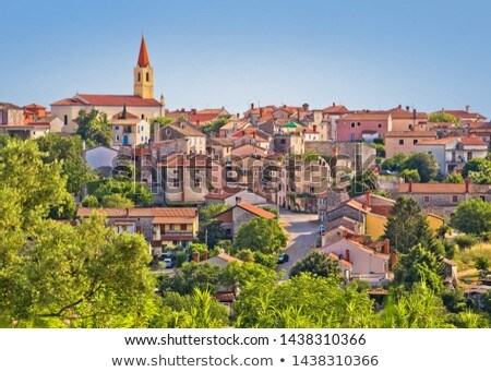 Old stone town of Brtonigla on green hill view stock photo © xbrchx