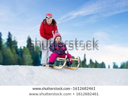 Matka popychanie córka sanki młodych cute Zdjęcia stock © AndreyPopov