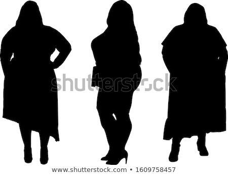 Overweight woman and silhouette body Stock photo © bluering