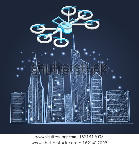 Drone and Schematic City Sketch Skyscrapers Town Stock photo © robuart