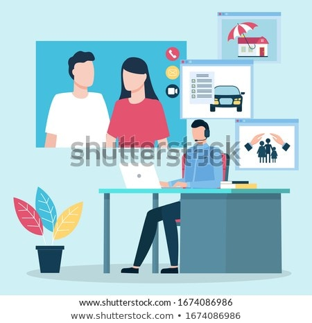 Consultation of Couple on Insurance Issues Vector Stock photo © robuart