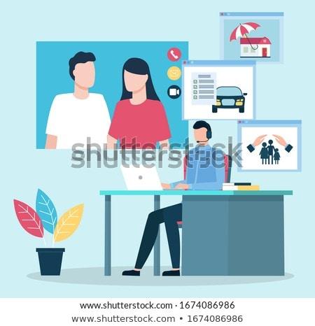 консультация пару страхования вектора онлайн агент Сток-фото © robuart