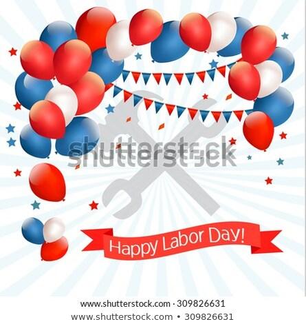 Glücklich Geburtswehen Tag Karte Ballons weiß Stock foto © ShustrikS