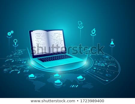 Dizüstü bilgisayar geliştiriciler elektronik kütüphane simgeler vektör Stok fotoğraf © robuart
