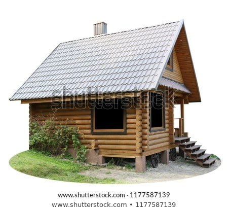 Modern rural house with brown door and metal-plastic window, porch with canopy, trees, early snow Stock photo © robuart