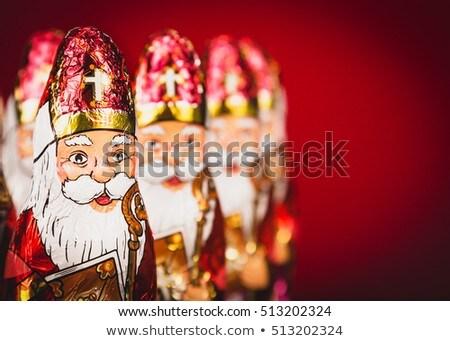 Mikulás szobrocska karácsony fények fény kalap Stock fotó © ca2hill