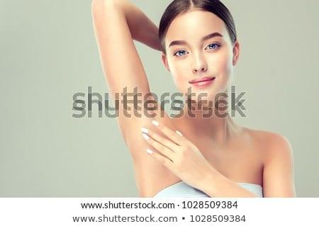 Portré fiatal női hónalj fürdőszoba zuhany Stock fotó © HASLOO
