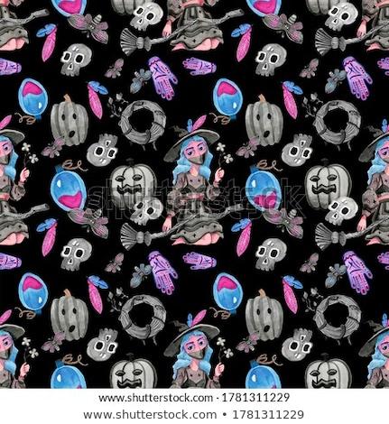 gray cartoon skulls on black background seamless pattern stock photo © voysla