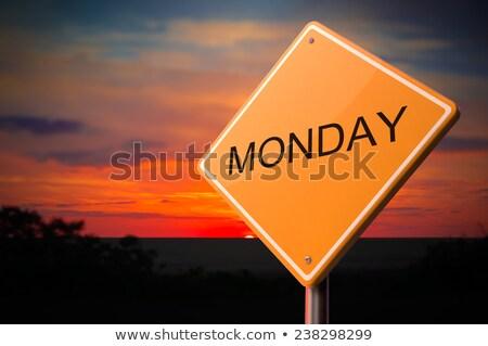 Monday on Warning Road Sign Stock photo © tashatuvango