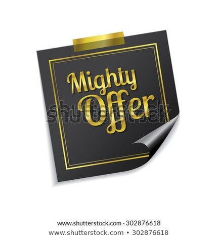 Mighty Offer Golden Sticky Notes Vector Icon Design Stock photo © rizwanali3d