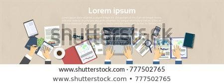 beyaz · dizüstü · bilgisayar · tablo · yer · metin · bilgisayar - stok fotoğraf © adam121