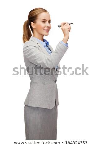 Photo stock: Femme · d'affaires · écrit · marqueur · écran · belle