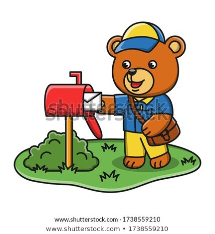 Cartoon Smiling Mail Carrier Bear Stock photo © cthoman
