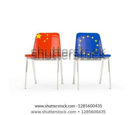 два стульев флагами Китай Евросоюз изолированный Сток-фото © MikhailMishchenko