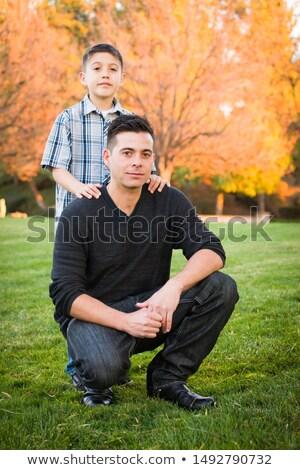 Hispanique père en fils portrait automne arbres Photo stock © feverpitch