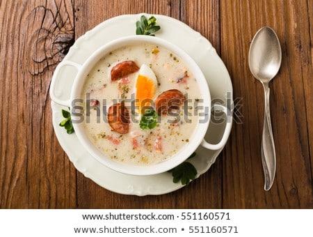 Tradycyjny Wielkanoc biały jaj kiełbasa kubek Zdjęcia stock © joannawnuk
