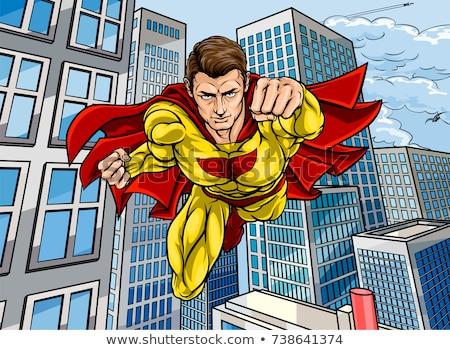 man in red superhero cape over sky background Stock photo © dolgachov