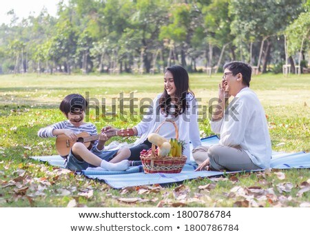 Mother and Son Resting in Spring Park on Weekends Stock photo © robuart