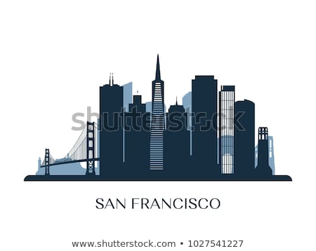 Outline San Francisco Skyline with Blue Buildings and Reflection Stock photo © ShustrikS