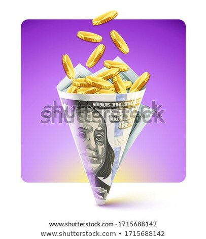 Sac origami dollars monnaie pièces d'or Photo stock © LoopAll