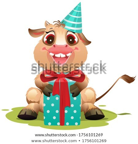 Komik inek bebek erkek hediye kutusu Stok fotoğraf © orensila