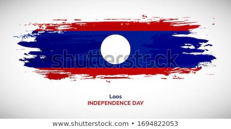 Laos banderą biały podpisania kolor wiatr Zdjęcia stock © butenkow