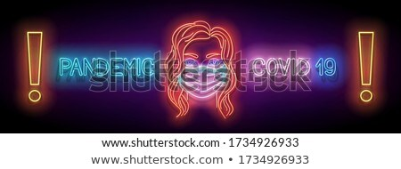 Glow Female Silhouette with Lungs and Face Mask and Inscription Stock photo © lissantee