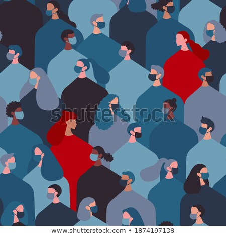 Group of multinational people in medical masks at blue flat background with flying virus pathogen Stock photo © robuart