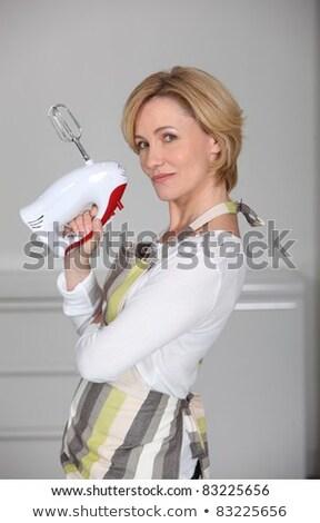 Profil kilátás szőke nő tart elektromos Stock fotó © photography33
