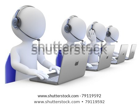 3d Man Call Center Support With Headphones Stockfoto © Texelart