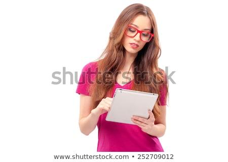 Dziewczyna touchpad biały komputera strony szczęśliwy Zdjęcia stock © wavebreak_media
