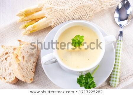 Asparagus Cream Soup In A White Bowl Stok fotoğraf © Dar1930