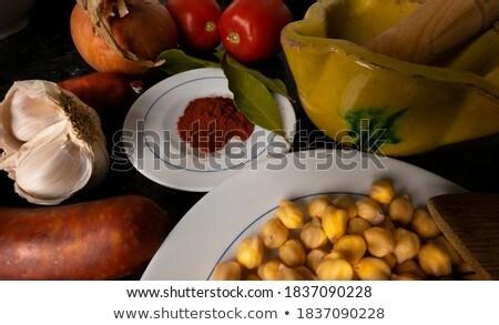 Taze fasulye İspanyolca serrano jambon plaka Stok fotoğraf © nito