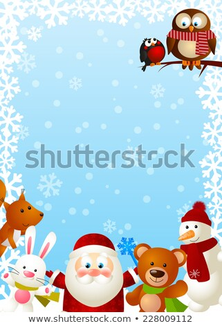 Background with cute bullfinch in hat Stock photo © Elmiko