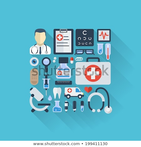 medical health care icons set flat design long shadow stock photo © wad