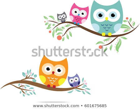holiday background with owl, flowers and birds. vector illustration Stock photo © fotoscool