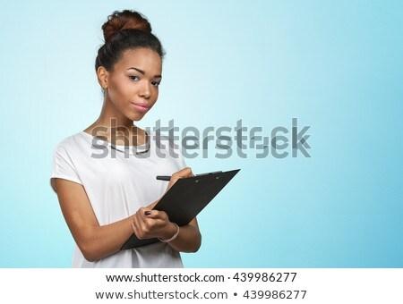 счастливым молодые деловая женщина буфер обмена копия пространства Сток-фото © williv