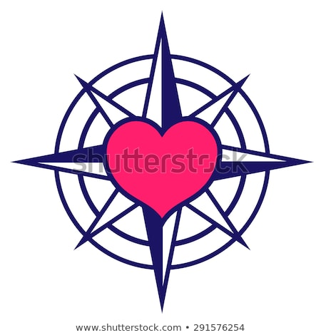 Stock photo: Navy colored compass icon with pink heart