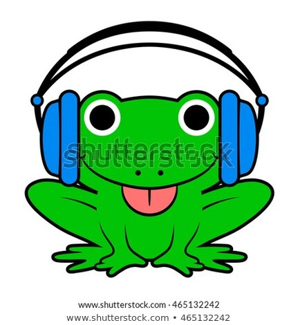 Cute cheeky green cartoon frog wearing headphones Stock photo © adrian_n