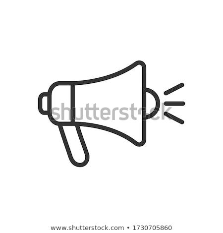 Haut-parleur ligne icône vecteur isolé blanche Photo stock © RAStudio