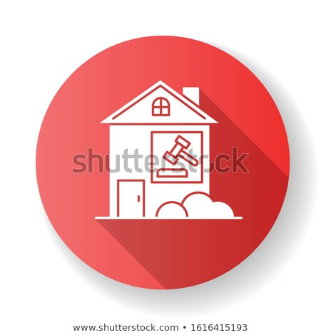 Realty flat red and white colors rounded vector icon Stock photo © ahasoft