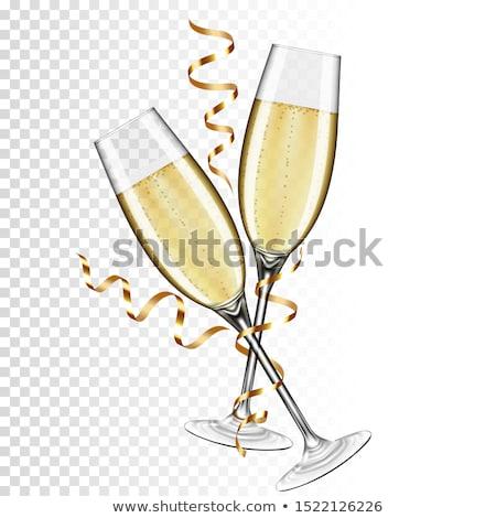 Iki gözlük şampanya içmek bağbozumu beyaz Stok fotoğraf © Alex9500