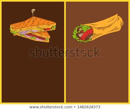 Sandwich with Burrito Isolated on Dark Backdrops Stock photo © robuart