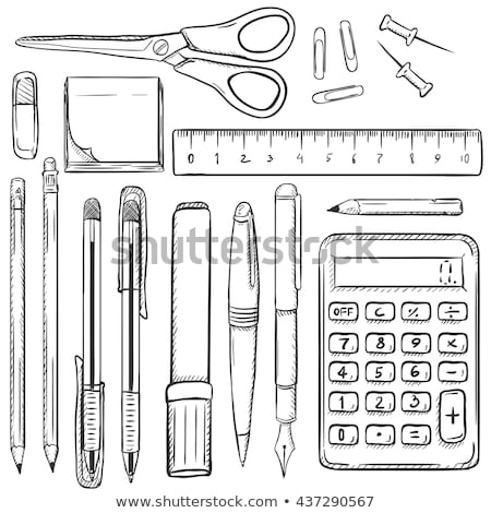 Office Papers Pen and Pencil Pin Set Sketch Vector Stock photo © robuart