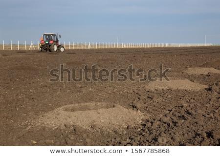 Drilling holes in field, preparing for tree planting Stock photo © simazoran