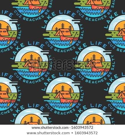 Przygoda obozu odznaki jezioro Zdjęcia stock © JeksonGraphics